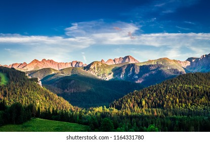 Tatra mountains at sunset in Poland, Europe
