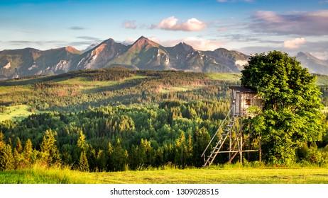 Tatra mountains at sunset in summer, Poland