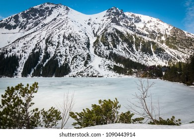 Tatra mountains at winter from Morskie Oko, Karpaty, Poland