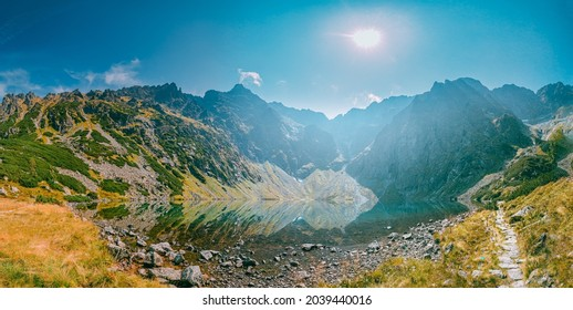 Tatra National Park, Poland. Calm Lake Czarny Staw Under Rysy And Summer Mountains Landscape. Beautiful Nature, Scenic Panoramic View Of Five Lakes Valley. UNESCO World Heritage Site. Panorama - Shutterstock ID 2039440016
