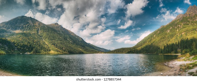 Tatra National Park, Poland. Famous Mountains Lake Morskie Oko Or Sea Eye Lake In Summer Day. Beautiful Tatras Lake Landscape. UNESCO's World Network of Reserves. Panoramic View Of Polish Nature.
