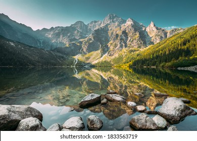 Tatra National Park, Poland. Famous Mountains Lake Morskie Oko Or Sea Eye Lake In Summer Morning. Five Lakes Valley. Beautiful Scenic View. European Nature. UNESCO's World Network of Biosphere - Shutterstock ID 1833563719