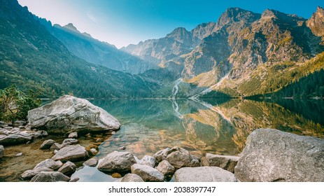 Tatra National Park, Poland. Famous Mountains Lake Morskie Oko Or Sea Eye Lake In Summer Morning. Five Lakes Valley. Beautiful Scenic View. European Nature.