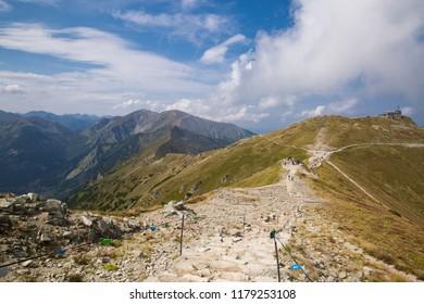 Tatra National Park, Poland. Pamoramic view of the mountains landscape. Zakopane, Park Narodowy Wysokie Tatry. High Tatras mountains. Świnicka  Przełęcz (Swinica Pass) i Kasprowy Wierch (Kasper Peak)