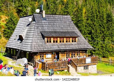 TATRA, POLAND - OCT 13: Mountain shelter house in Tatra Mountains, Kondratowa Valley, Poland. T.N.P. is populanym vacation spot.