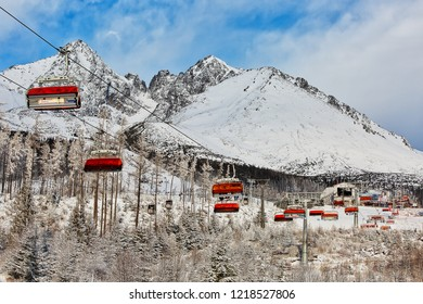 TATRANSKA LOMNICA, SLOVAKIA - January 17th, 2018: Modern ski lift in popular ski resort in High Tatras