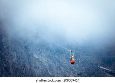 TATRANSKA LOMNICA, SLOVAKIA - JULY 26: Ropeway from Skalnate pleso to peak Lomnicky stit in Tatras mountains on July 26, 2014 in Tatranska Lomnica