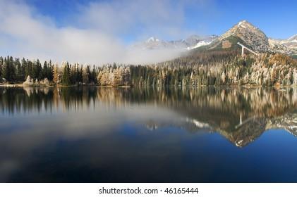 Tatras mirror  Beautiful Lake (Strbske pleso) in the mountains High Tatras in Slovakia - Europe