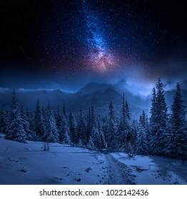 Tatras Mountains in winter at night and stars, Poland