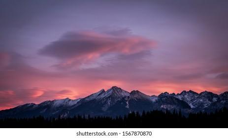 Tatry Mountains seen from Zakopane, Poland.