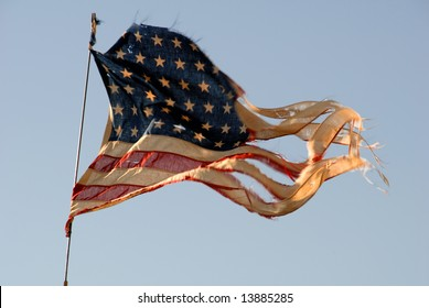 Tattered 48 Star World War II Vintage American Flag