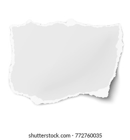 Tattered paper tear with soft shadow isolated on white background. Template paper design.