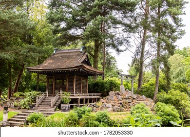 Tatton Park, Cheshire, England -  17 July, 2020: The Shinto Shrine in a Japanese garden in England.