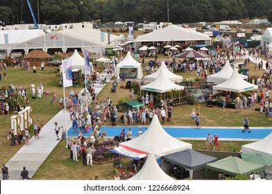 Tatton Park, Cheshire, UK - July 19th 2018: Looking down on the showground at the annual flower show.