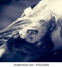 Tattoo artwork on skin