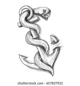 Tattoo style of an asclepius snake curling up on an anchor set on isolated white background.