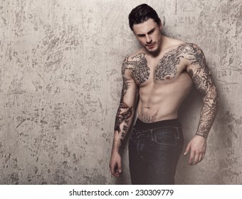 Tattooed guy with perfect body