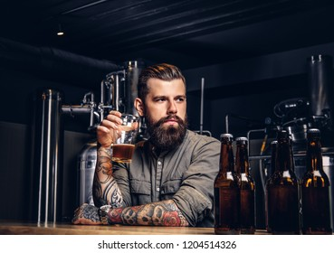 Tattooed hipster male with stylish beard and hair drinking beer sitting at the bar counter in the indie brewery.