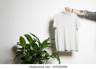 Tattooed male hand holds hanging with blank white t-shirt from premium thin cotton on white background. Mockup Copy Paste Advertisement