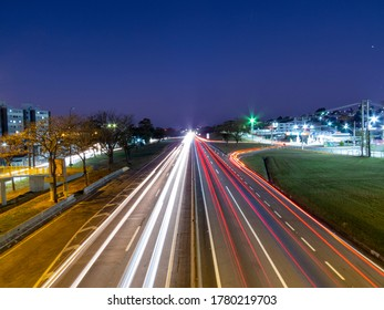 Taubate, São Paulo, Brazil - July 19, 2020: vehicle traffic on the Presidente Dutra highway in the early evening.