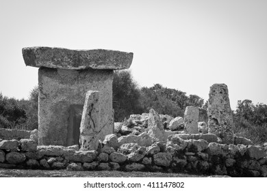 Taula talaiotica a megalithic construction of the prehistoric talaiotic culture from Menorca, balearic islands, Spain