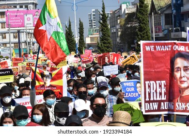 Taunggyi, Myanmar - 20 Feb 2021: Myanmar people took to the streets to protest against the military coup