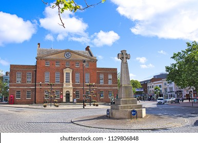 Taunton central square, also known as Parade, sunny summer morning with some clouds in a blue sky Somerset, England, Uk