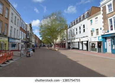 Taunton, England – April 27, 2019: High Street in Taunton, United Kingdom, Europe