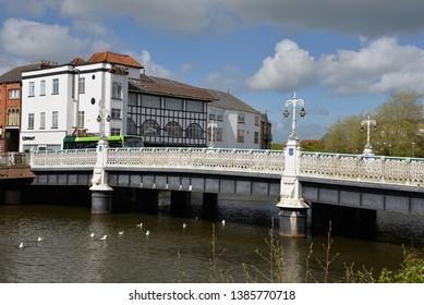 Taunton, England – April 27, 2019: River Tone in Taunton, United Kingdom, Europe