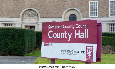 Taunton, England - Feb 22, 2018: Information Sign of Somerset County Council, County Hall in Taunton, Shallow Depth of Field