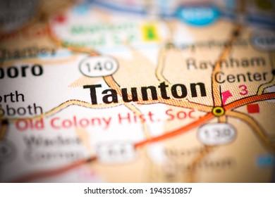 Taunton. Massachusetts. USA on a geography map
