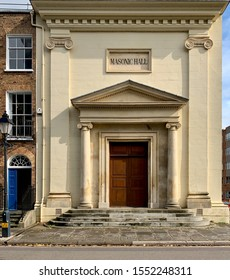 Taunton, Somerset, UK - 1st Oct 2019: Masonic Hall building in Taunton, Somerset, UK