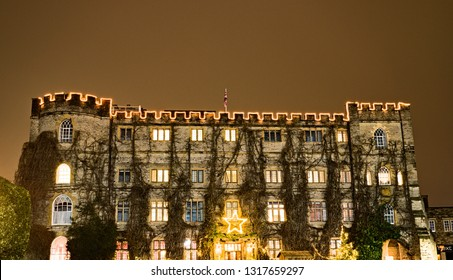Taunton, Somerset, UK - December 25 2018: Night view of the historic building, once Taunton Castle, now Taunton Castle Hotel, England, UK