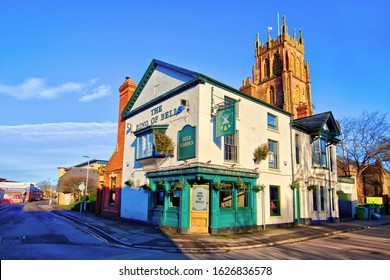Taunton, UK - December 25, 2019: The Ring Of Bells is a traditional pub in the heart of Taunton situated less than a minute from the Somerset County Cricket Ground on St James Street