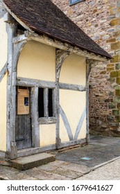 Taunton, UK - March 17th 2020: Replica using some original materials of a traditional Almshouse, almost identical to ones that were located on St. James Street in Taunton, Somerset, during the 1500s.