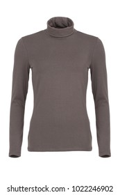 Taupe long sleeved basic women's sweater with turtle neck, photographed on ghost mannequin, isolated on white background. Front view.