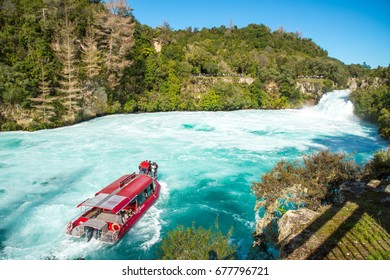 Taupo, New Zealand - April 26 2017: Tourist adventure in Huka Falls with Huka falls river cruise in Taupo, New Zealand.