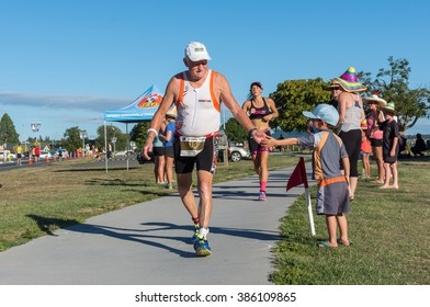 TAUPO, NEW ZEALAND - MARCH 05, 2016: Athletes in the Ironman New Zealand 2016.