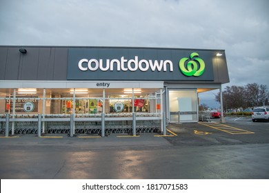 TAUPO, NEW ZEALAND - SEPTEMBER 2, 2018: Countdown supermarket store front and signage.