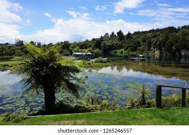 Taupo, North Island, New Zealand, December 6, 2018. View from Huka Prawn Park across the Waikato River to the Hukafalls Jet Launch Site