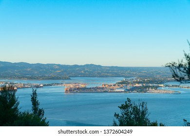 Tauranga Harbour and port from Mount Maunganui in morning light.