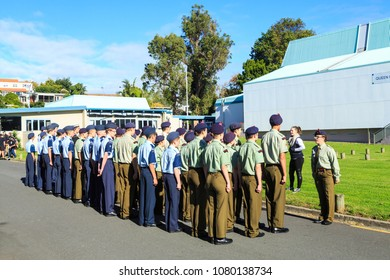 Tauranga / New Zealand - April 25 2018: Anzac Day: A Group of Army and Air Force Cadets are Drilled by a Cadet Staff Sergeant