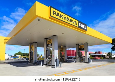 Tauranga / New Zealand - April 25 2018: A Fuel Station Run By Pak'n Save, One of New Zealand's Biggest Supermarket Chains