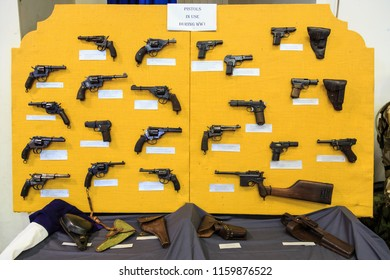 Tauranga / New Zealand - August 18 2018: A Display of Pistols Used in World War One, Seen at a Gun Show. Many Famous Brands, Including Mauser, Webley, Luger, Smith and Wesson
