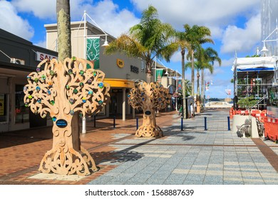 Tauranga / New Zealand - December 15 2018: Unusual Christmas Trees in Downtown Tauranga. These Stylized Plywood Pohutukawa Trees Have Been Decorated by Local Schools