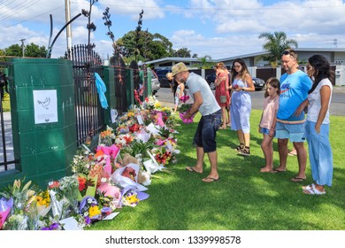 Tauranga / New Zealand - March 16 2019: People Lay Flowers Outside Tauranga Mosque in Memory of Those Killed in the March 15 Terror Attacks in Christchurch