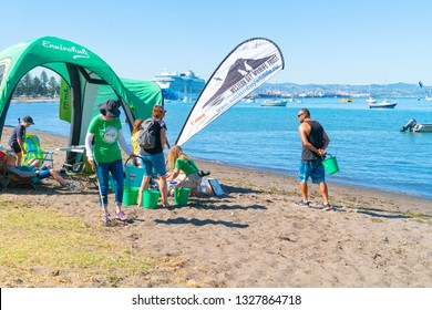 TAURANGA NEW ZEALAND - MARCH 3 ; Organisation and children, junior environmentalists in Pilot Bay for underwater and beach clean-up March 3 2019 Tauranga New Zealand