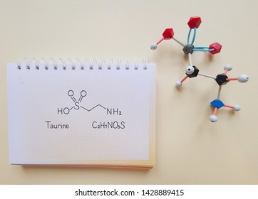 Taurine (2-aminoethanesulfonic acid) molecule. Common ingredient of energy drinks and nutritional supplements. Structural chemical formula and molecular structure model of taurine molecule.