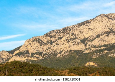 Taurus mountains at the first hour after sunrise. Mild sinlight, serene blue sky with white clouds. Treed slopes. Power transmission line on a slope.