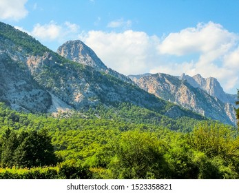 Taurus Mountains on the shores of the Mediterranean Sea. Antalya Province. District of Kemer and Beldibi.